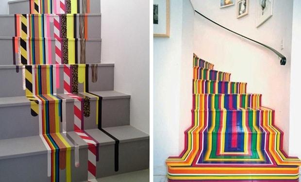 Kleurrijke geverfde trap