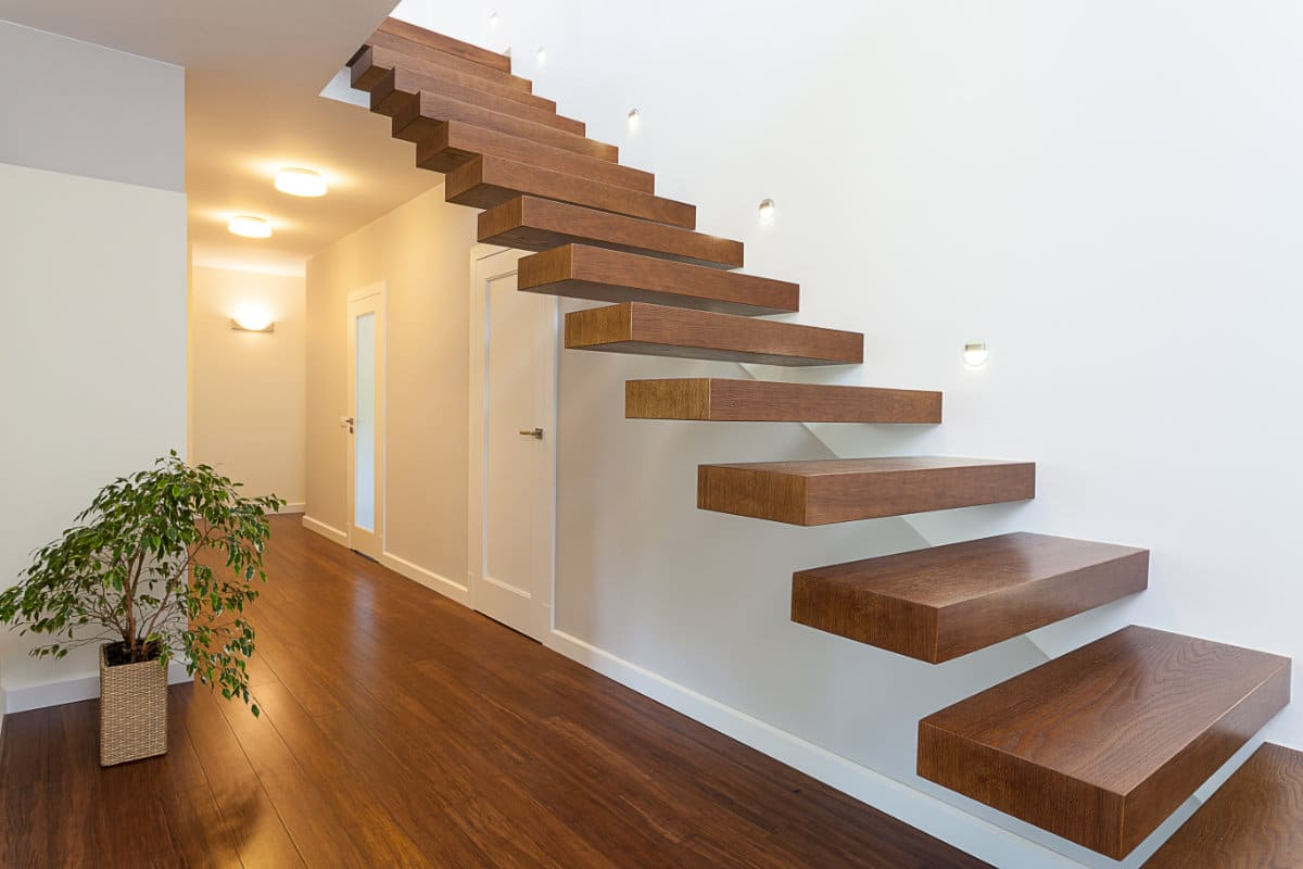 zwevende trap hout